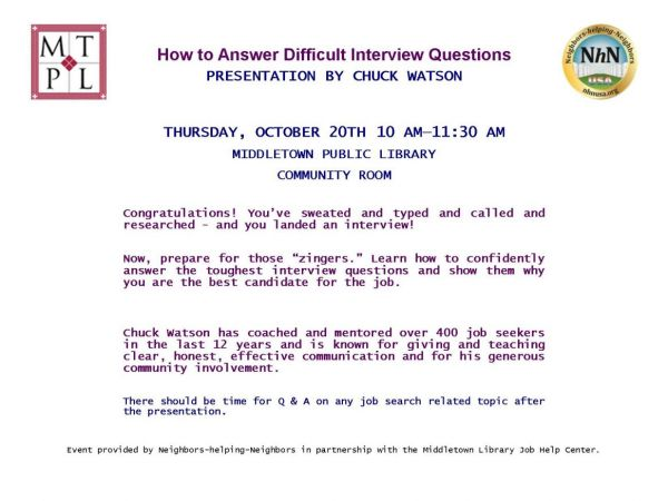 how to answer difficult interview questions with chuck watson the middletown public library - Librarian Interview Questions For Librarians With Answers