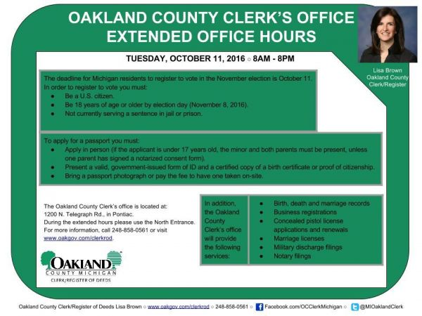 Oct 11 | Oakland County Clerk Extended Office Hours 10/11/16 ...