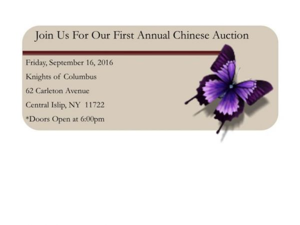 Sep 16 Come Join Us For Our First Chinese Auction