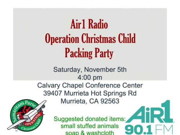 Nov 5 | Air1 Radio and Operation Christmas Child Packing Party ...