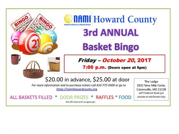 NAMI HC 3rd Annual Basket Bingo Fundraiser  sc 1 st  Patch & Oct 20 | NAMI HC: 3rd Annual Basket Bingo Fundraiser | Columbia MD ...