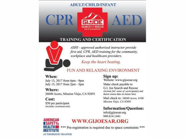 Jul 15 | CPR/AED Training and Certification | Mission Viejo, CA Patch