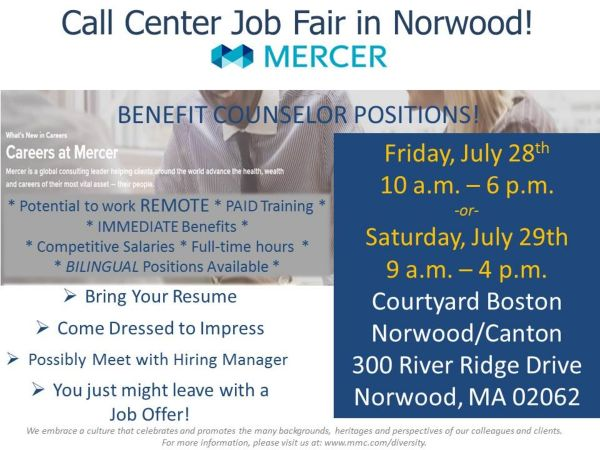 jul 28 call center job fair norwood ma patch. Black Bedroom Furniture Sets. Home Design Ideas