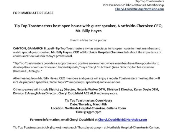tip top toastmasters open house