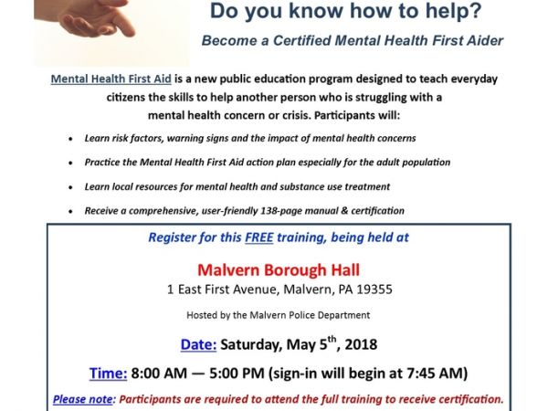 May 5   Adult Mental Health First Aid Training   Malvern, PA Patch