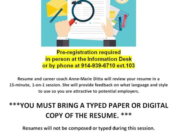 Sep 25 | Resume Review | Port Chester, NY Patch