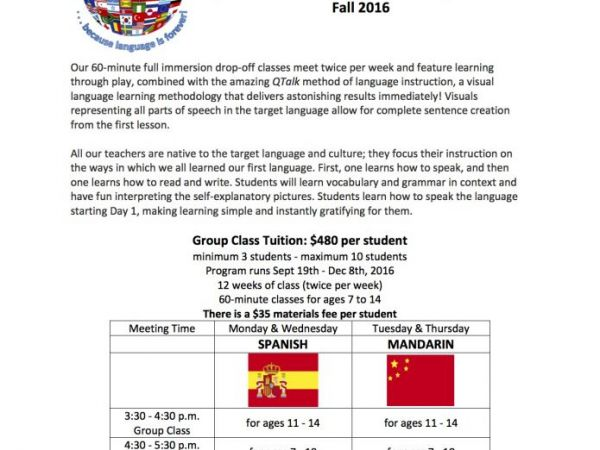 Sep Announcing World Language School Begins September - Which language is spoken by maximum in world