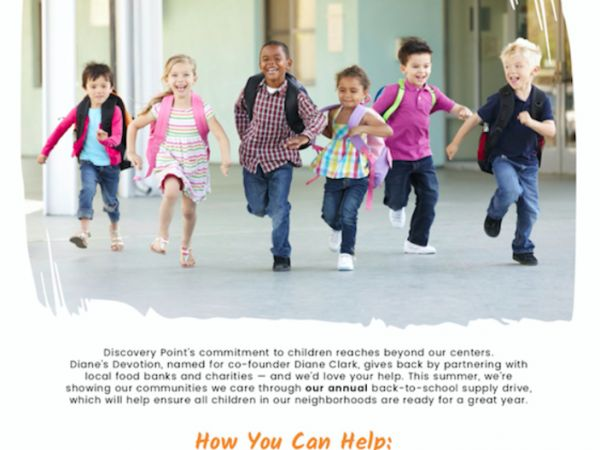 jul 9 discovery point hosts back to school drive to support