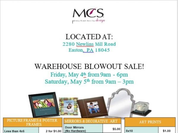 May 4 | MCS Warehouse Sale | Palmer-Forks, PA Patch
