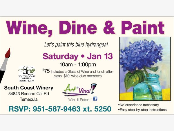 Jan 13 wine dine paint at south coast winery resort for Paint and wine temecula