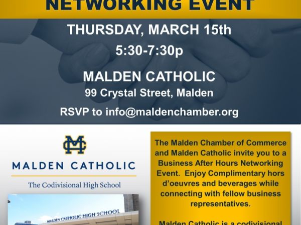 Mar 15 MCC Business After Hours Networking Event at Malden