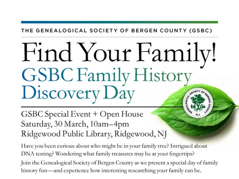 Find Your Family! GSBC Family History Discovery Day