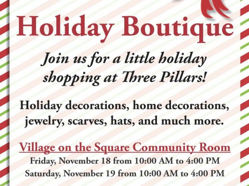 Nov 19 holiday boutique shopping at three pillars in for Holiday boutique