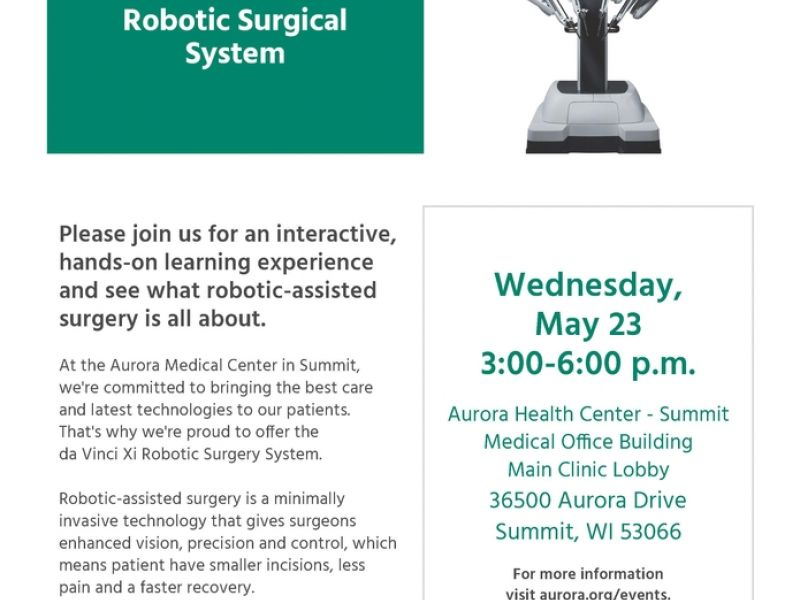 May 23 Come Meet The Da Vinci Xi Robotic Surgical System Waukesha Wi Patch