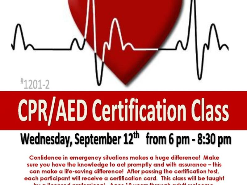 Sep 12 Cpraed Certification Class At North Riverside Parks