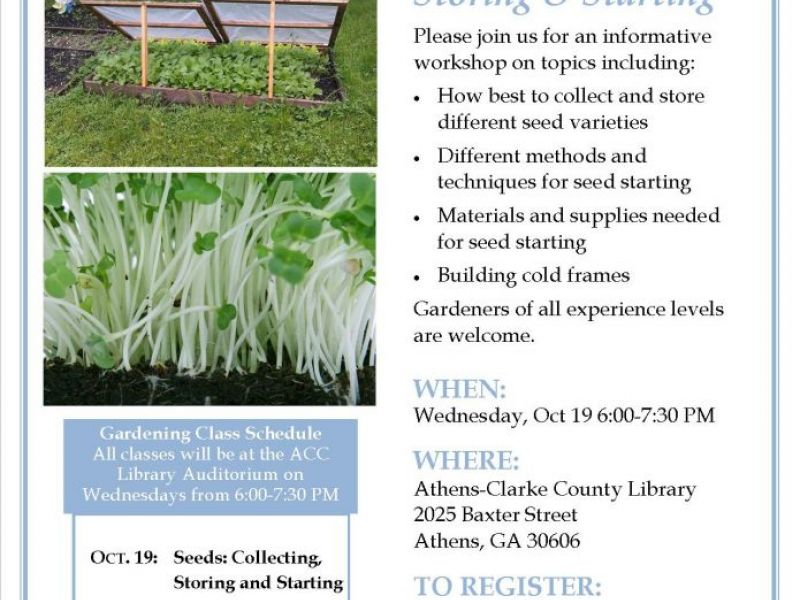 Oct 19 Free Monthly Gardening Class Seeds Collecting Storing And Starting Athens Ga Patch