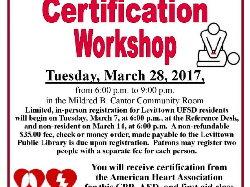 Mar 28 Cpr Certification Workshop At The Levittown Public Library