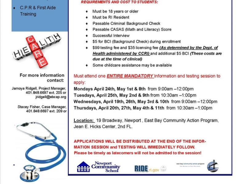 Apr 20 Free Certified Nursing Assistant Training Cna