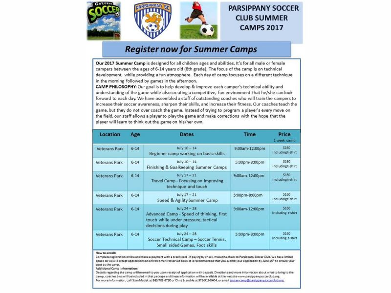 Parsippany Soccer Club Summer Camps   Chatham, NJ Patch