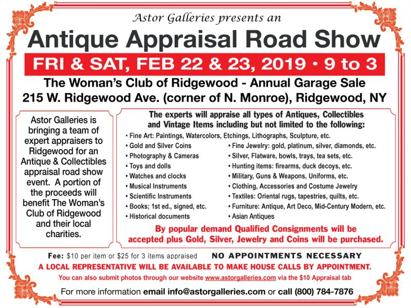 Antique Appraisals @ The Woman's Club of Ridgewood Garage Sale