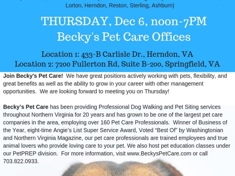 Dec 6 Becky S Pet Care Job Fair December 6 Reston Va Patch