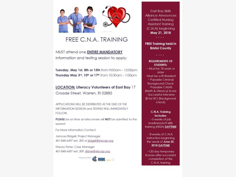 May 15 Free Cna Training Class Bristol Warren Ri Patch