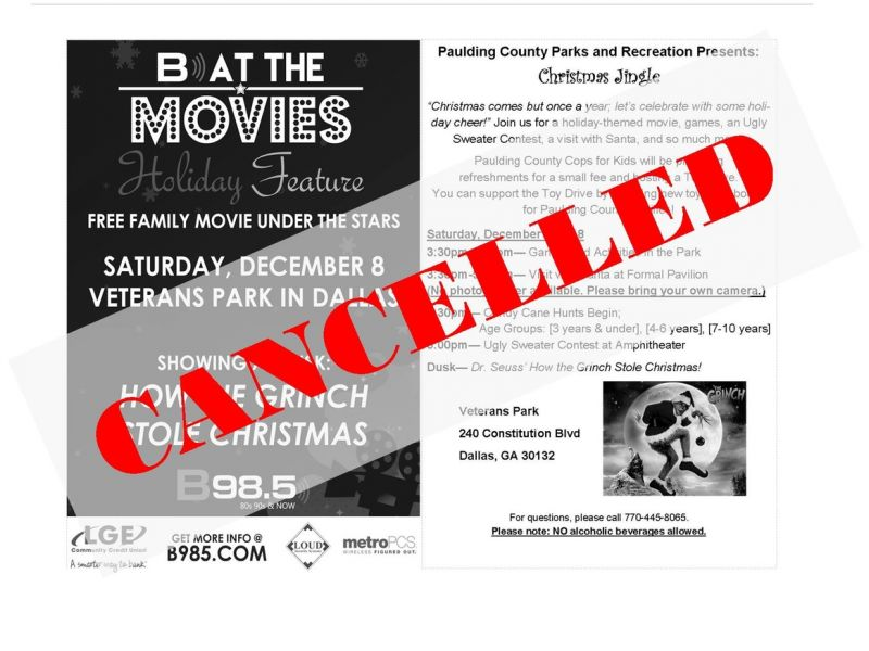 Dec 8 Cancelled Pcprd B At The Movies Christmas Jingle