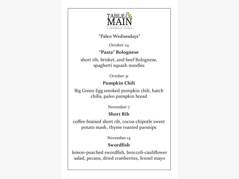 Oct 31 Paleo Wednesdays At Table Main Roswell Ga Patch