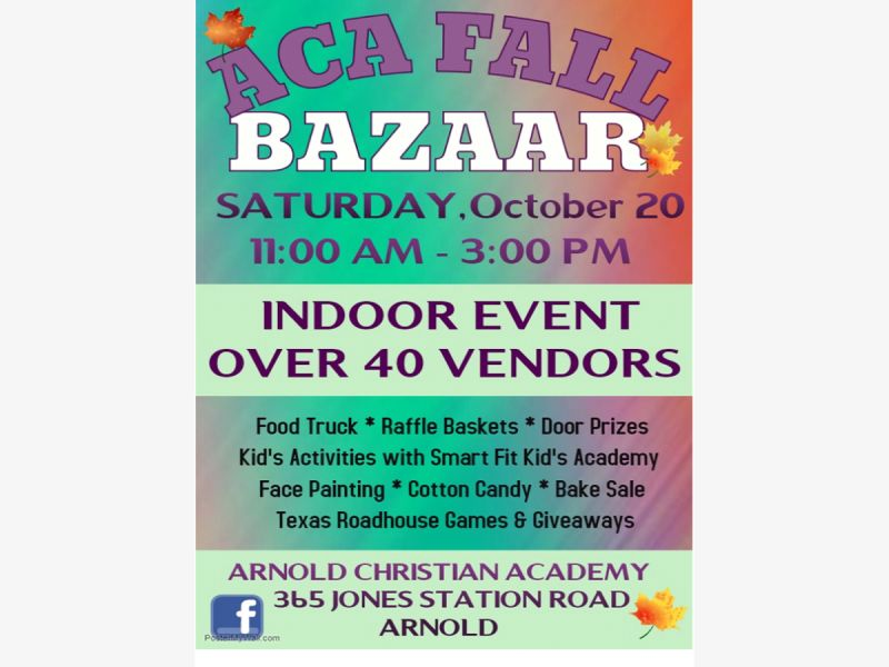 Oct 20 Aca Annual Fall Bazaar October 20 From 1100am To 300pm
