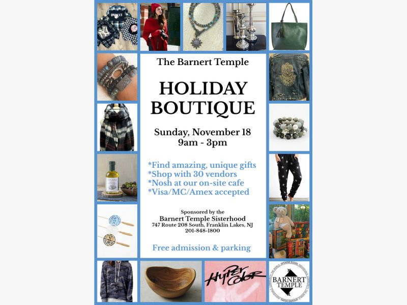 Holiday Boutique at Barnert Temple Sunday 11/18 9-3
