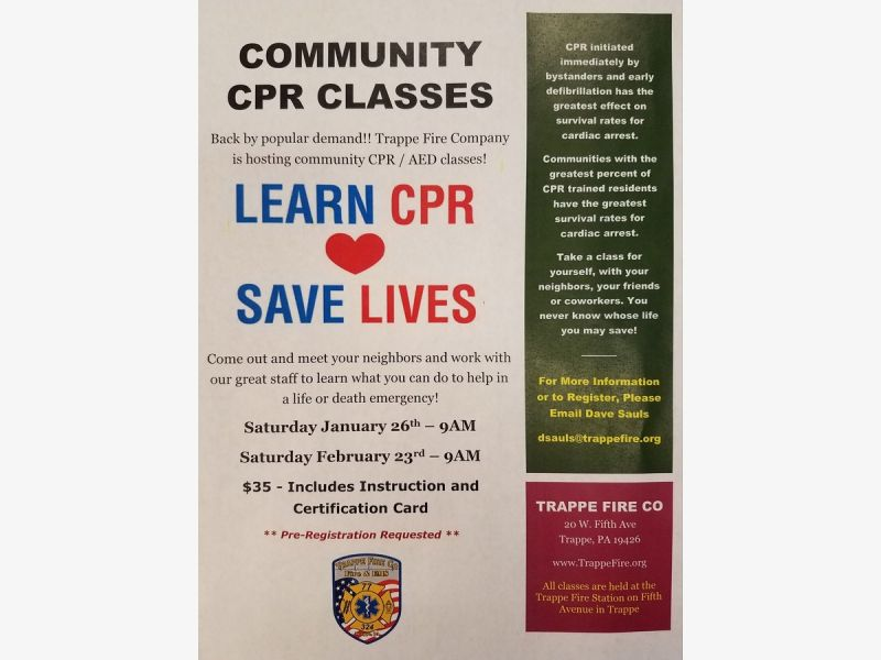 Jan 26 Trappe Fire Co Community Cpr Classes Limerick Royersford