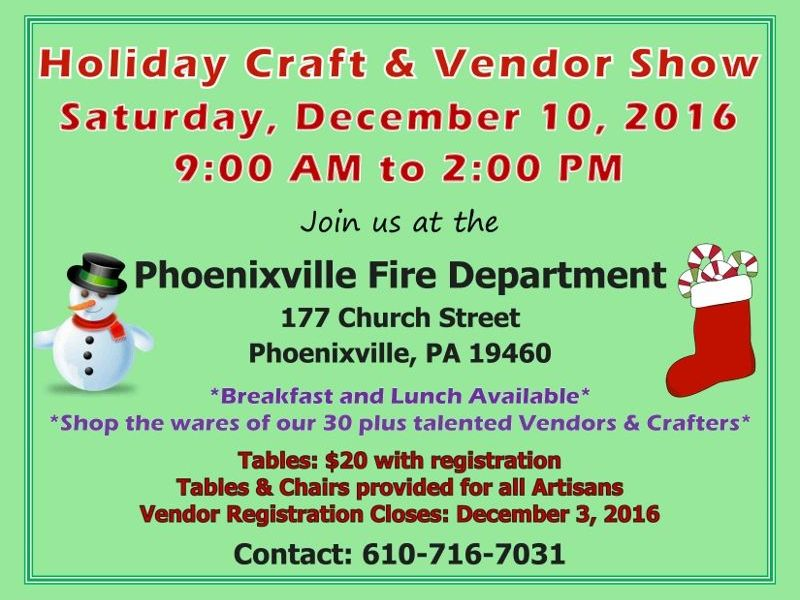 Dec 10 holiday craft vendor show in phoenixville for Pa vendors craft shows