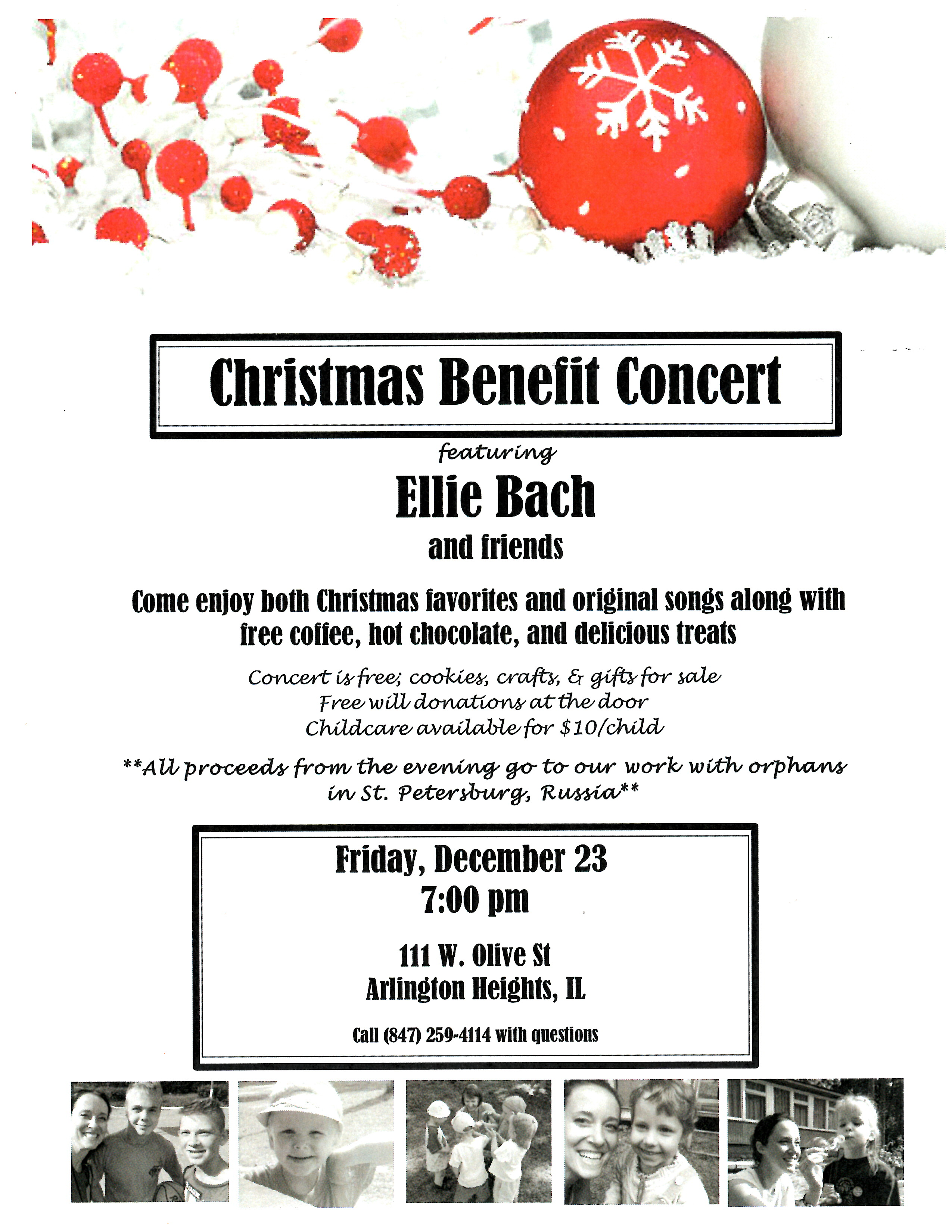 Dec 23 Christmas Benefit Concert Featuring Ellie Bach And Friends Arlington Heights Il Patch