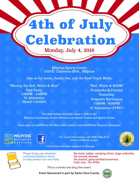Jul 4 4th Of July Celebration Pool Party Fireworks Milpitas Milpitas Ca Patch