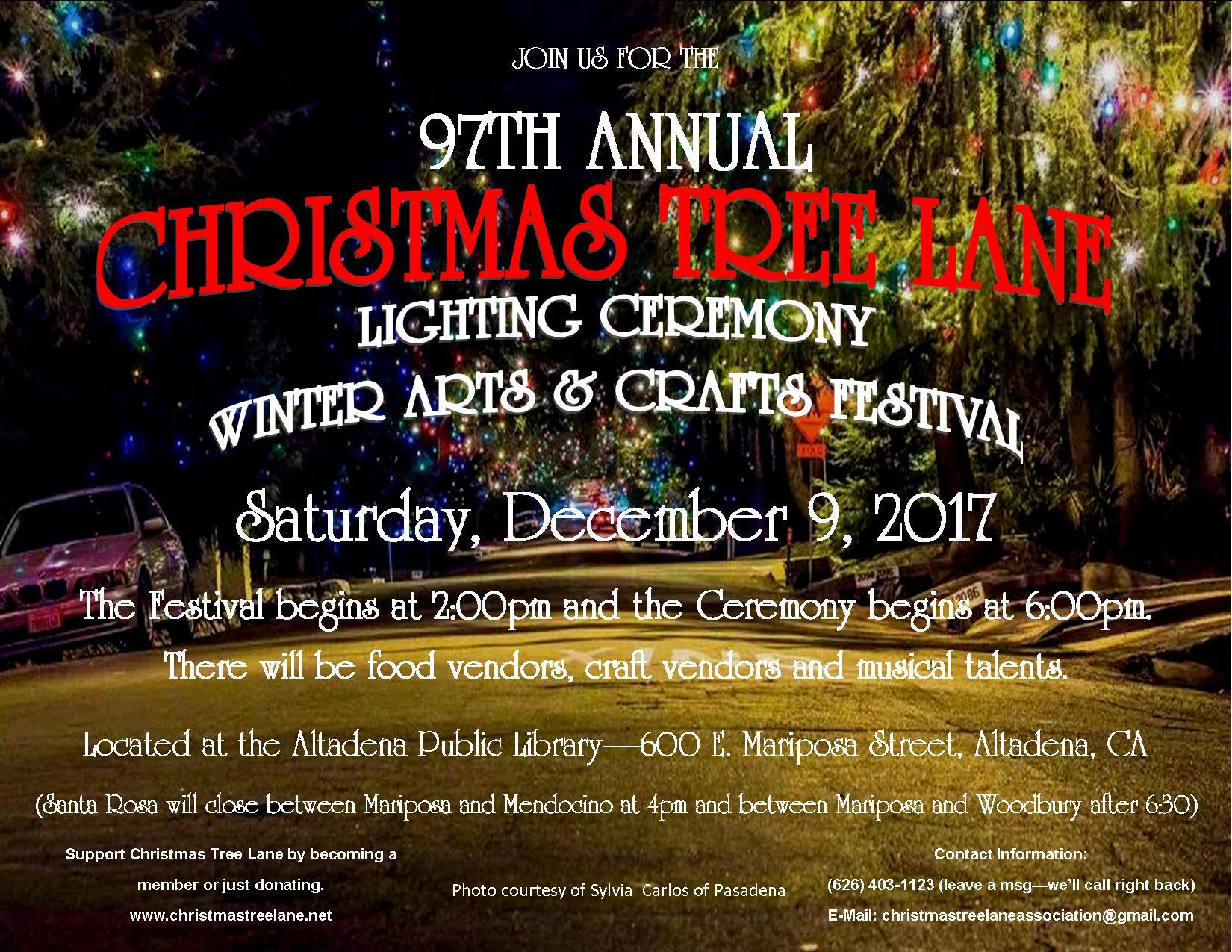 Dec 9 Christmas Tree Lane Holiday Lighting Crafts Fest