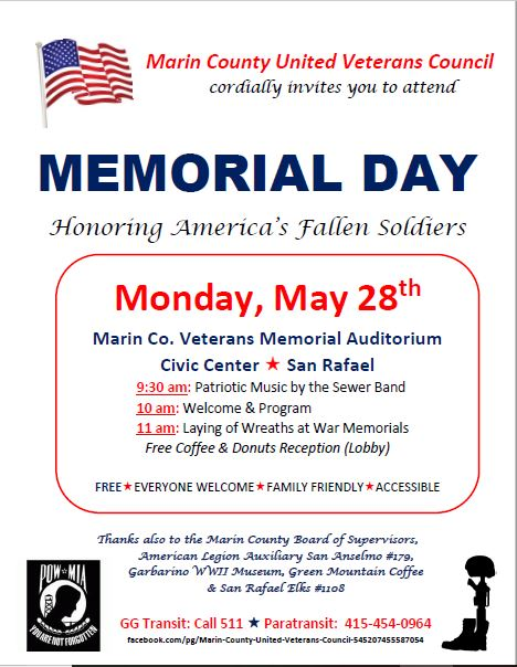 May 28 Memorial Day 2018 Ceremony Marin Co Civic Center San