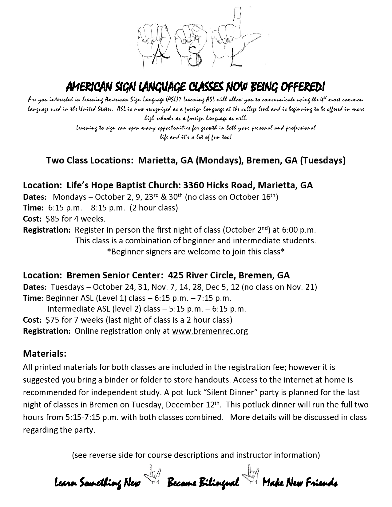 oct 30 american sign language classes offered in marietta