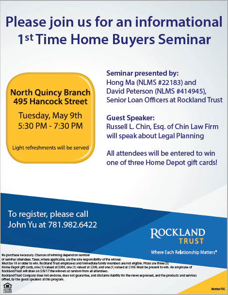 May 9 1st Time Home Buyers Seminar Rockland Trust Quincy Ma Patch