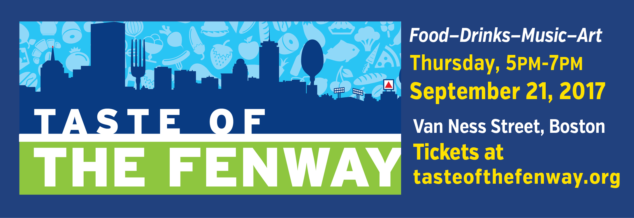 Please invite your family friends and business associates to taste of the fenway which will be held on thursday september 21 2017 from 5pm to 7pm at van